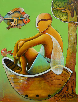 untitled by anupam pal, Decorative Painting, Mixed Media on Canvas, Green color