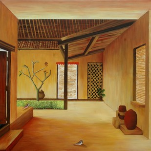 Heritage..1 by Geetha Ramasesh, Impressionism Painting, Oil on Canvas, Brown color