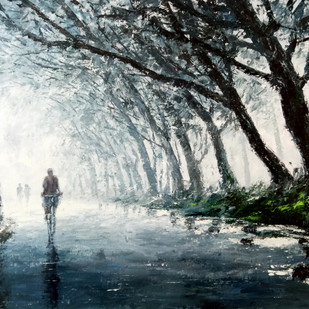 Misty Morning by Sunil Linus De, Impressionism Painting, Acrylic on Canvas, Gray color