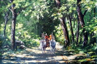 Village path by Sunil Linus De, Impressionism Painting, Acrylic on Canvas, Green color