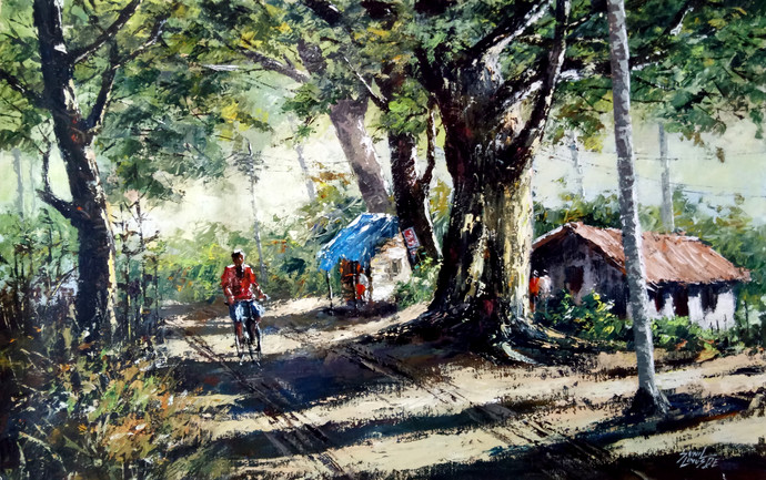 Morning light by Sunil Linus De, Impressionism Painting, Acrylic on Canvas, Green color