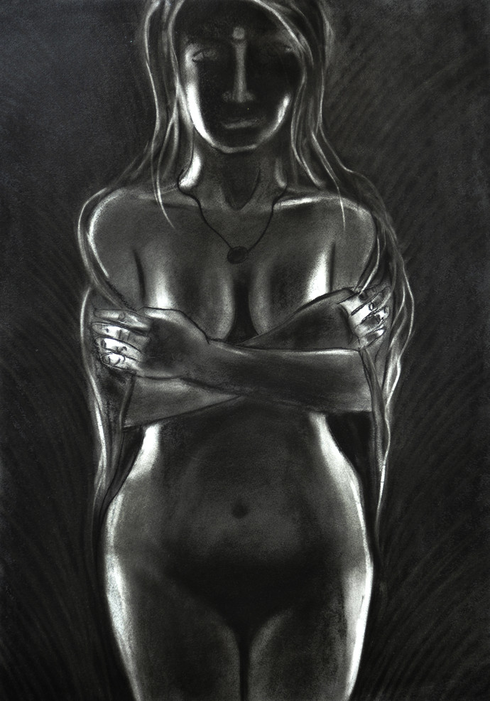 nude in black by Arun K Mishra, Expressionism Drawing, Charcoal on Paper, Gray color