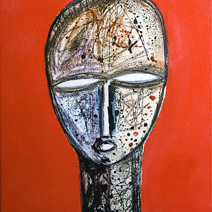 face by Arun K Mishra, Expressionism Painting, Acrylic & Ink on Canvas, Red color