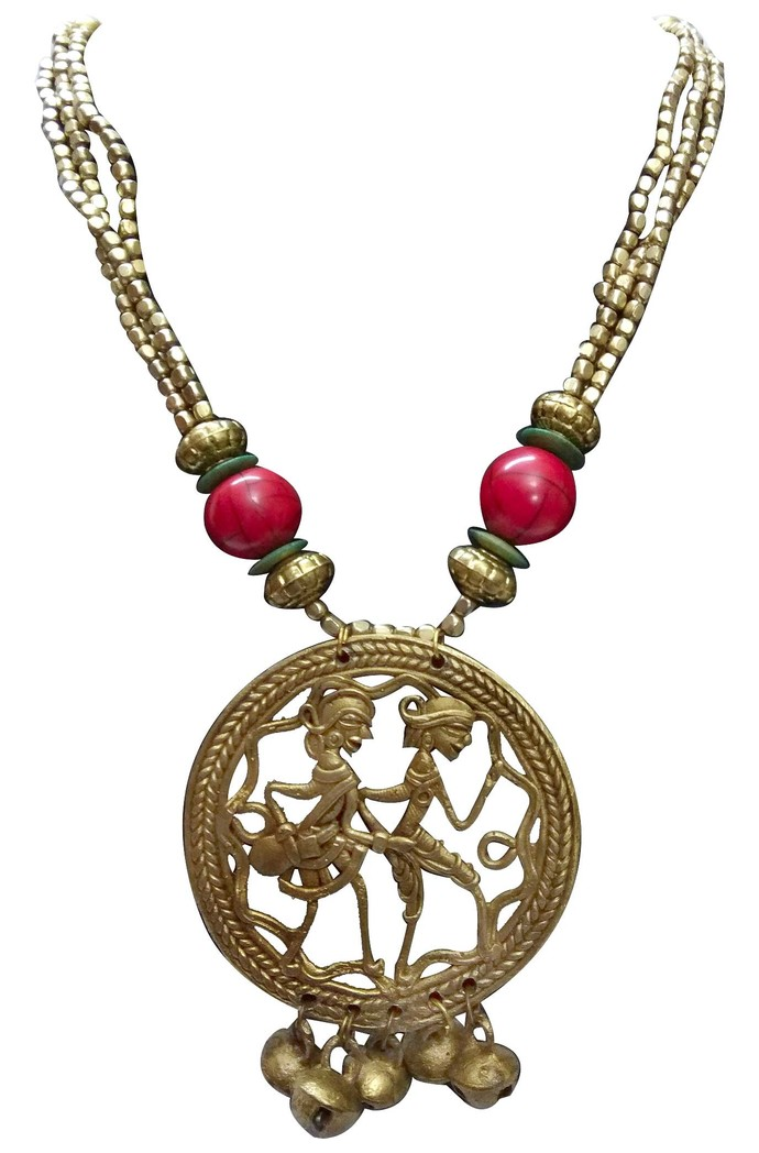 Necklace of Dhokra Art Brass Pendant by eGenie Art, Art Jewellery Necklace