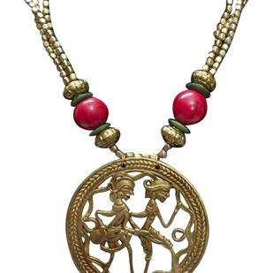 Necklace of Dhokra Art Brass Pendant by eGenie Art, Art Jewellery Necklace