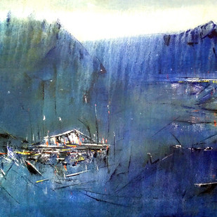 Blue Reflection by Dnyaneshwar Dhavale , Abstract Painting, Acrylic on Canvas, Blue color