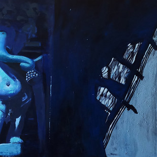 Ganesha II by Monica Ghule, Expressionism Painting, Acrylic on Canvas, Blue color
