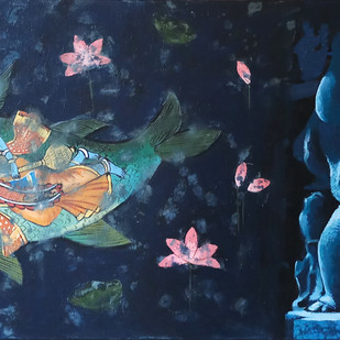 Ganesha III by Monica Ghule, Expressionism Painting, Acrylic on Canvas, Blue color