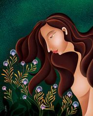 Tranquil blooms by Suvarna Sohoni, Digital Digital Art, Digital Print on Canvas, Green color