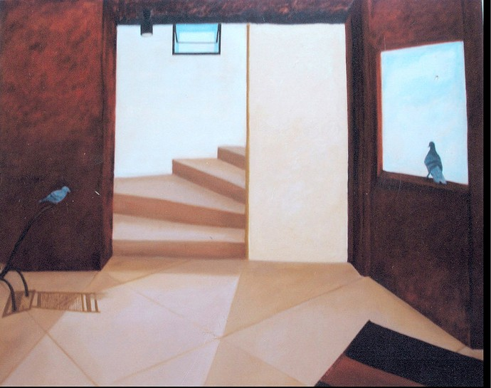 Pigeon in my home by Geetha Ramasesh, Expressionism Painting, Oil on Canvas, Brown color
