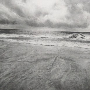 'Ocean' by Nadine D'Souza, Illustration Drawing, Charcoal on Paper, Brown color