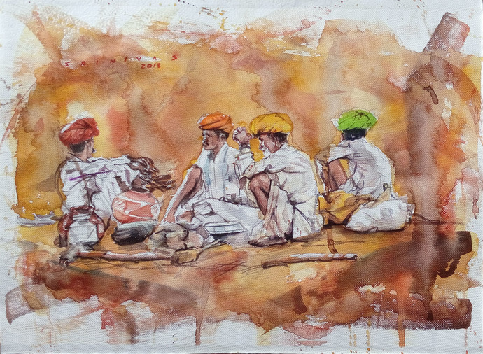 Pushkar camel traders by Sreenivasa Ram Makineedi, Impressionism Painting, Watercolor on Paper, Brown color