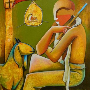 Thinker by anupam pal, Decorative Painting, Acrylic on Canvas, Brown color