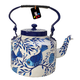 Enchanted Forest Blue Eden hand-painted teapot Kitchen Ware By Pyjama Party Studio