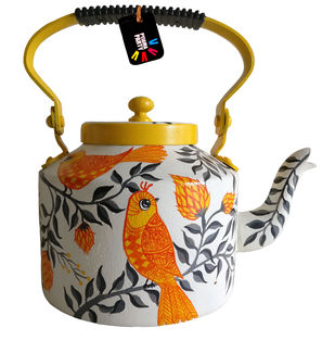 Enchanted Forest Mellow Yellow hand-painted teapot by Pyjama Party Studio, Contemporary Serveware, Aluminium, White color