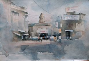 City-IV by Sajal K. Mitra, Impressionism Painting, Watercolor on Paper, Gray color