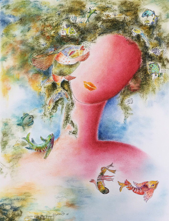 Dream 5 by Sonali Kumar, Fantasy Painting, Dry Pastel on Paper, Beige color