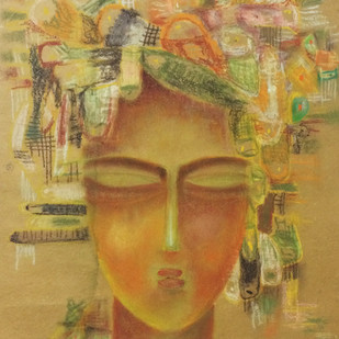 dream 4 by Sonali Kumar, Fantasy Painting, Dry Pastel on Paper, Brown color