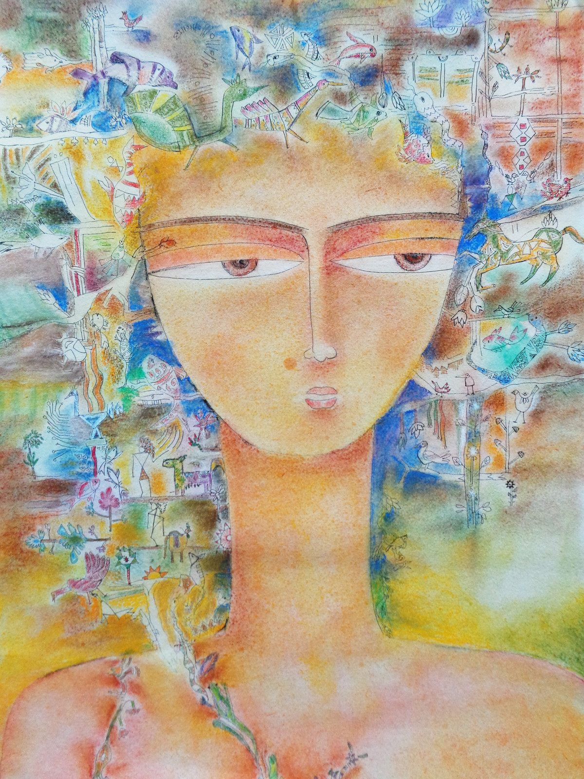 Basant Queen by Sonali Kumar, Expressionism Painting, Dry Pastel on Paper, Beige color
