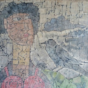 The Lady and The Raven by Ramakanth Ponnaganti, Abstract Painting, Mixed Media on Paper, Gray color