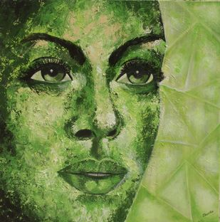 Hope by Shveta Saxena, Expressionism Painting, Acrylic on Canvas, Green color