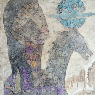 Along with the Stallion by Ramakanth Ponnaganti, Abstract Painting, Mixed Media on Paper, Gray color