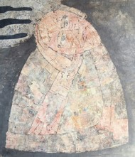 The Mannequin by Ramakanth Ponnaganti, Abstract Painting, Mixed Media on Paper, Beige color