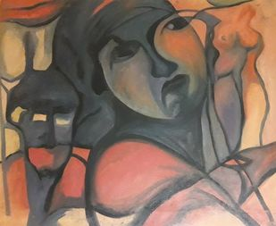 Insomnia yet again by Partha Pratim Maity, Expressionism Painting, Oil on Canvas, Brown color