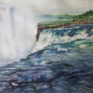 Waterfall by Sreenivasa Ram Makineedi, Impressionism Painting, Watercolor on Paper, Gray color