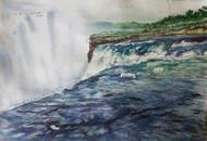 Waterfall by Sreenivasa Ram Makineedi, Impressionism Painting, Watercolor on Paper, Gray color