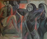 Relationship by Partha Pratim Maity, Impressionism Painting, Oil on Canvas, Gray color