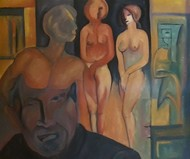 Magical mind by Partha Pratim Maity, Impressionism Painting, Oil on Canvas, Brown color