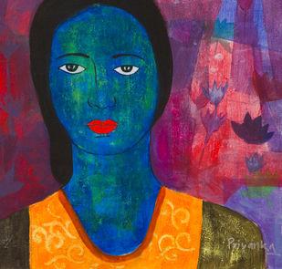 Raga Aadi Vasant by Priyanka Waghela, Expressionism Painting, Acrylic on Canvas, Blue color