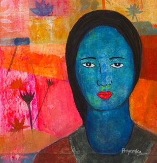 Raga Vasant by Priyanka Waghela, Expressionism Painting, Acrylic on Canvas, Brown color