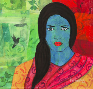 Birds from terra incognita by Priyanka Waghela, Expressionism Painting, Acrylic on Canvas, Green color