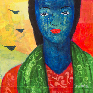 Whispers of blue birds by Priyanka Waghela, Expressionism Painting, Acrylic on Canvas, Blue color