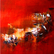Red fire by Dnyaneshwar Dhavale , Abstract Painting, Acrylic on Canvas, Red color