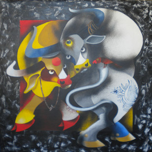 bull and bird by Uttam Manna, Expressionism Painting, Acrylic on Canvas, Gray color
