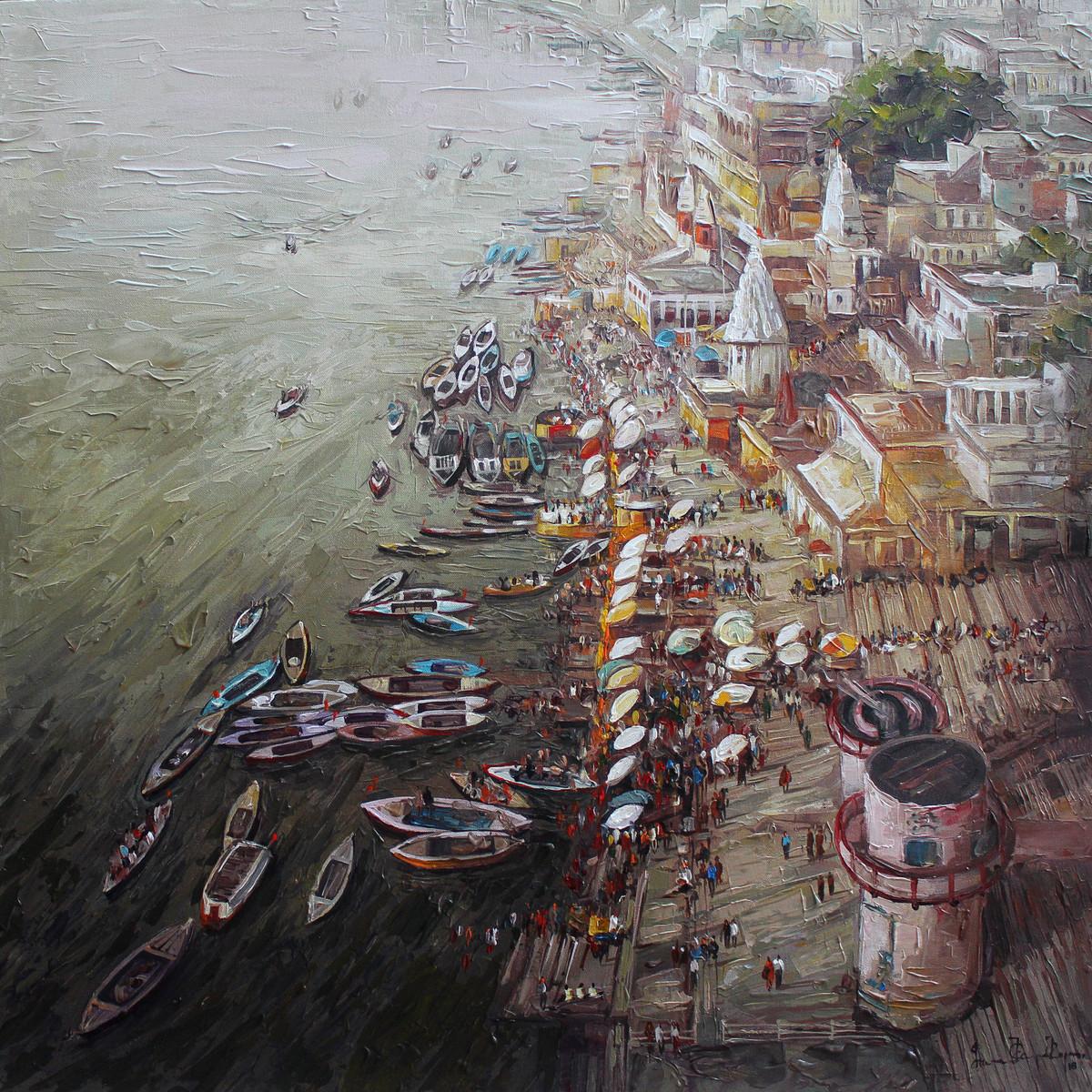 Varanasi_01 by Iruvan Karunakaran, Expressionism Painting, Acrylic on Canvas, Gray color