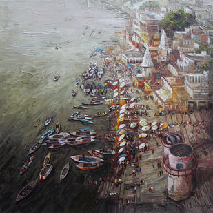 Varanasi_01 by Iruvan Karunakaran, Expressionism Painting, Acrylic on Canvas, Gray color