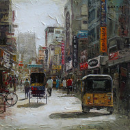 Madurai St by Iruvan Karunakaran, Expressionism Painting, Acrylic on Canvas, Gray color