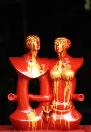 Love by Shivarama Chary. Y, Art Deco Sculpture | 3D, Fiber Glass, Black color