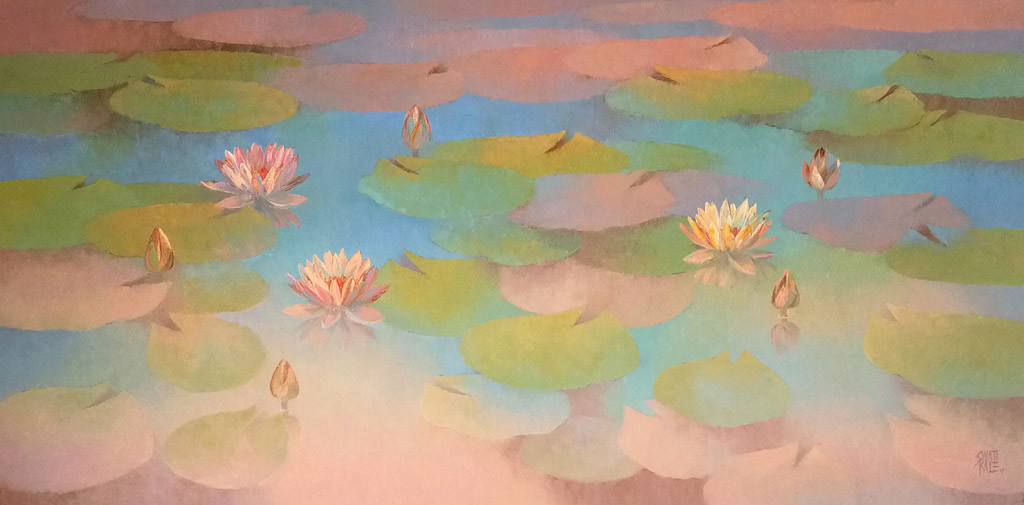 Waterlilies by Swati Kale, Impressionism Painting, Oil on Canvas, Beige color