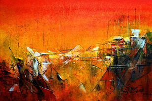 RED IX by Dnyaneshwar Dhavale , Abstract Painting, Acrylic on Canvas, Orange color