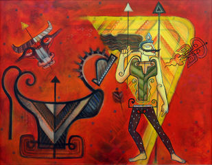 warrier by KS Guruprasad, Fantasy Painting, Acrylic on Canvas, Red color