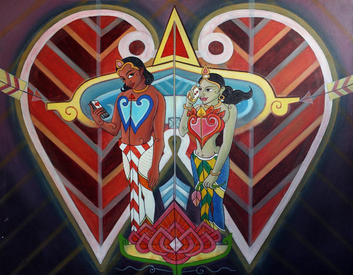Manmatha Ringtone(Arrow) by KS Guruprasad, Fantasy Painting, Acrylic on Canvas, Brown color