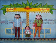 Morning bus stop by KS Guruprasad, Pop Art Painting, Acrylic on Canvas, Green color