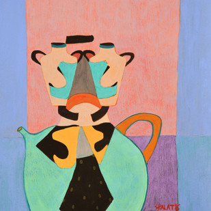 Tea for two by Shantala Palat, Expressionism Painting, Acrylic on Paper, Cyan color