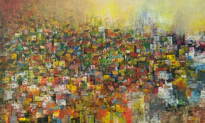 Village of my dreams by M Singh, Abstract Painting, Acrylic on Canvas, Brown color