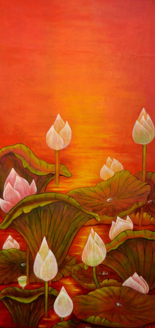 vertical beauty 13 by Atin Mitra, Impressionism Painting, Mixed Media on Canvas, Brown color